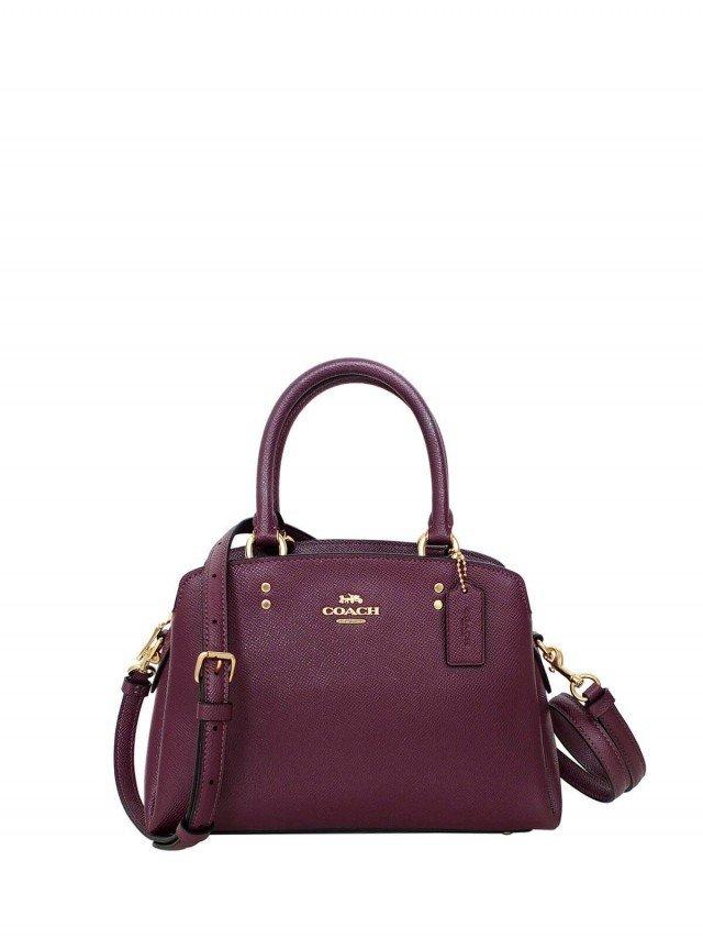 COACH 櫻桃紫金字防刮全皮三層小款手提 / 斜背包