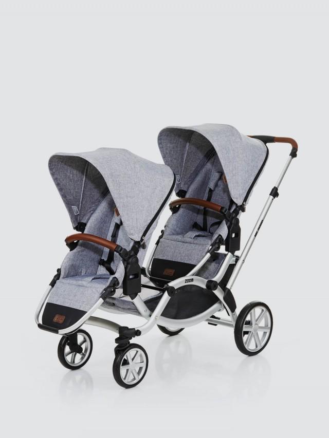 ABC Design ZOOM 嬰兒雙人推車 - 高階皮革版 / 時尚灰
