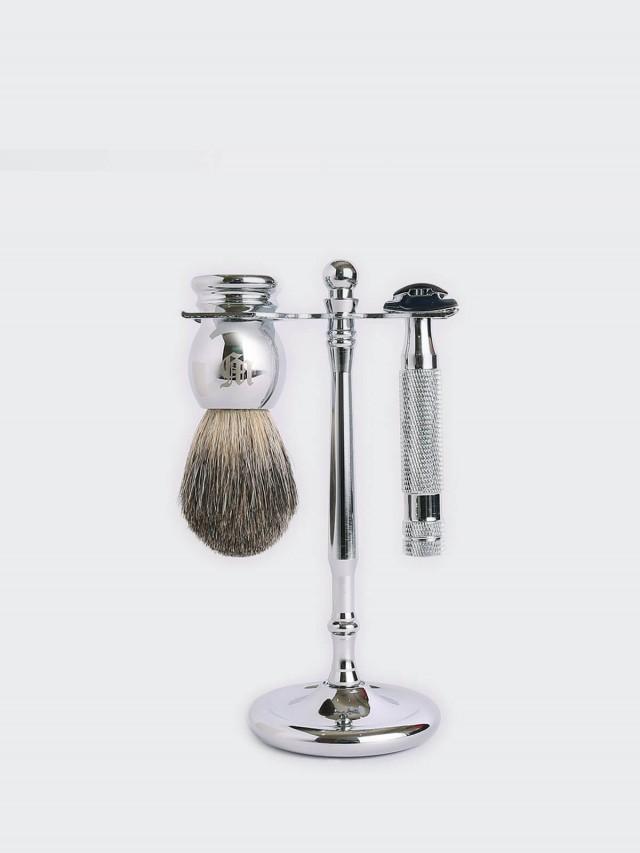 Grand Manner 特務系列 / 復古雙刃手動安全刮鬍刀套組 -  銀