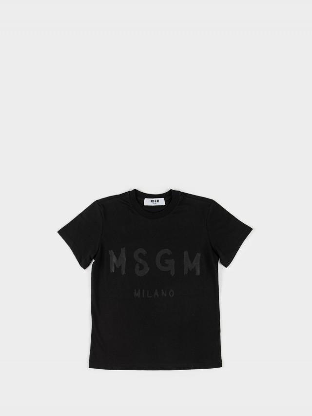 MSGM 油漆塗鴉 LOGO 字母 T 恤 - 黑色