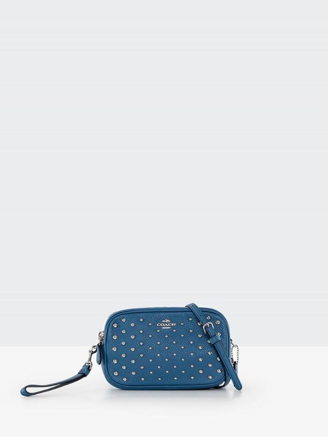 COACH 荔枝紋全皮鉚釘貼飾雙層手掛 / 斜背小包 x 海藍色
