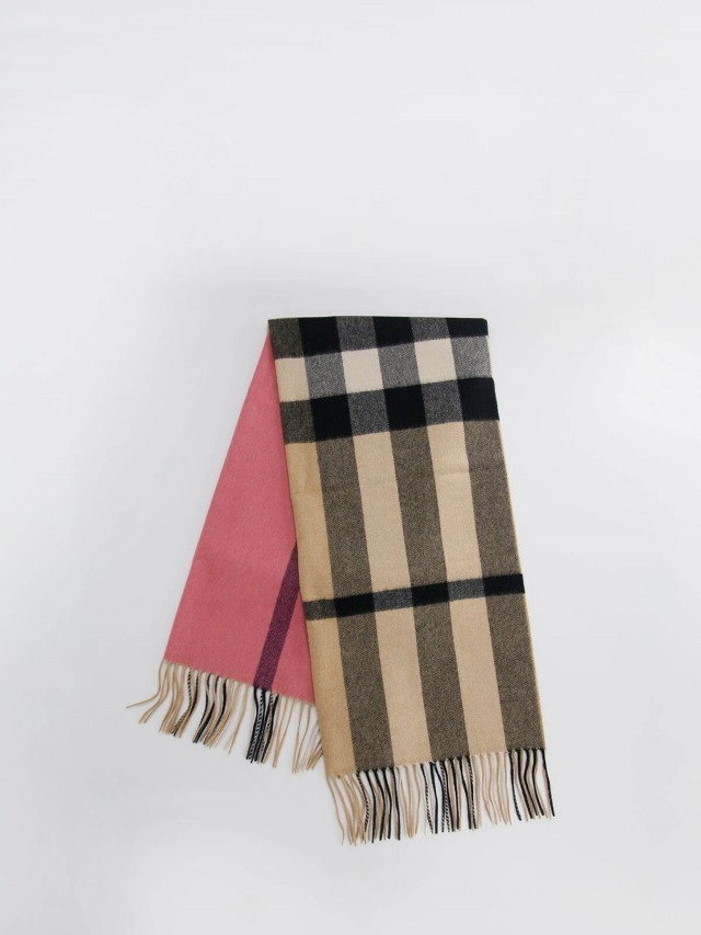 BURBERRY 拼色格紋喀什米爾圍巾 x 玫瑰粉紅