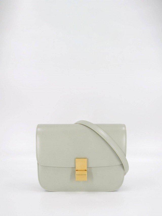 CELINE CLASSIC BOX 頂級小牛皮金釦肩背 / 斜背包 - 中 x 水綠色