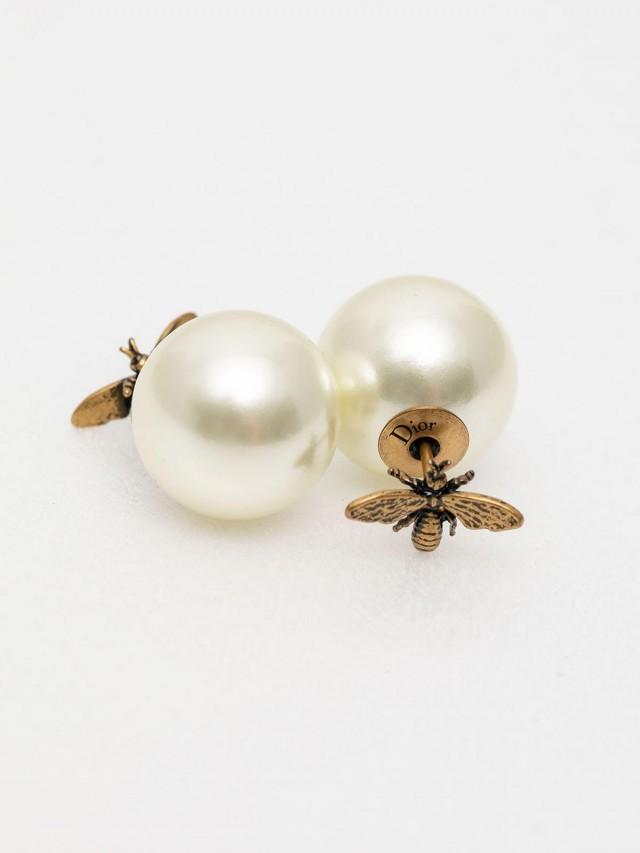 Dior Tribales 鍍金復古金屬和白色珍珠蜜蜂穿式耳環