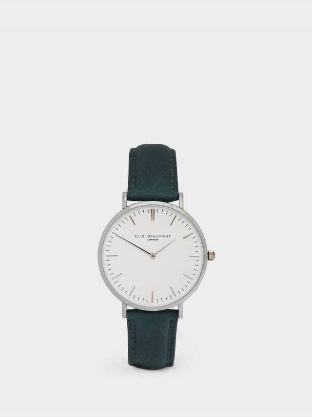 ELIE BEAUMONT 牛津系列 白錶盤 x 牛津藍錶帶 x 銀錶框 38 mm