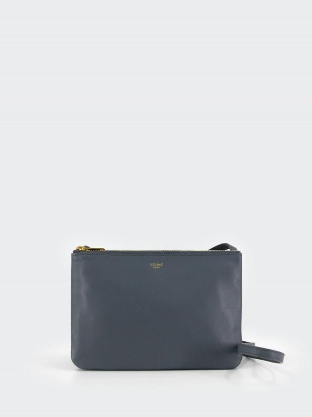 CELINE Trio 平滑羊皮金釦斜背 / 側背包 - 小 x 大象灰