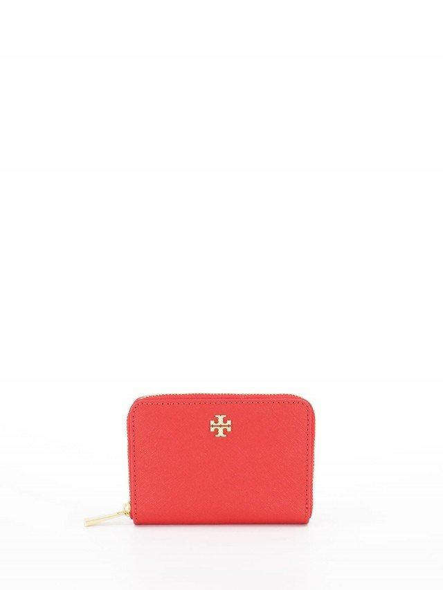 Tory Burch Tory Burch 胭脂紅色防刮 ㄇ 型零錢包