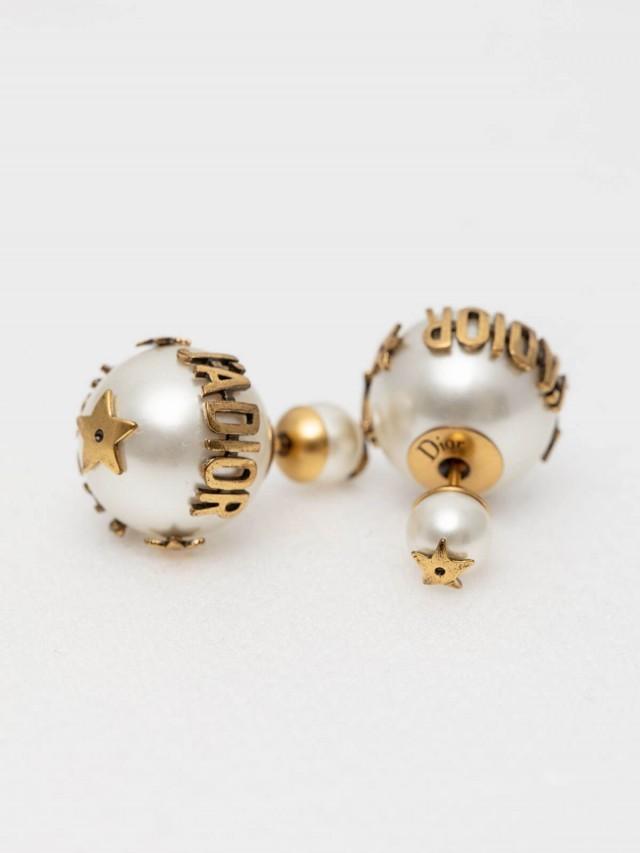Dior J'Adior「Dior Tribales」鍍金復古金屬白色圓珠小款穿式耳環