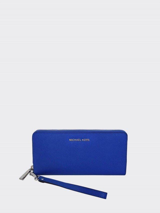 MICHAEL KORS 寶藍色防刮皮革多格層拉鍊手掛長夾