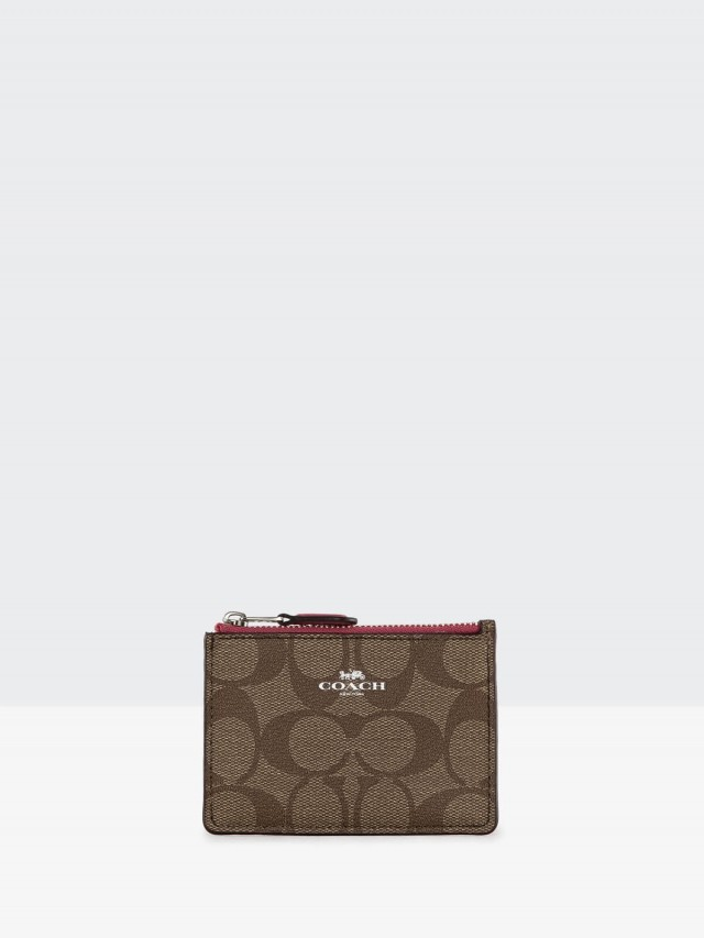 COACH C Logo 後拼淺桃紅真皮卡夾鑰匙零錢包 x 卡其