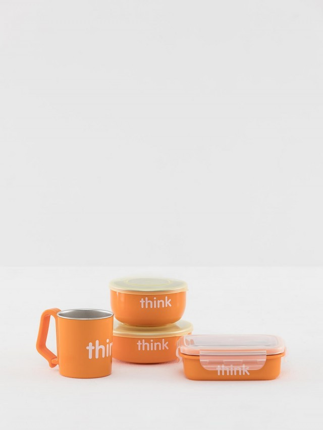 thinkbaby 無毒不鏽鋼餐具組 - 經典橘