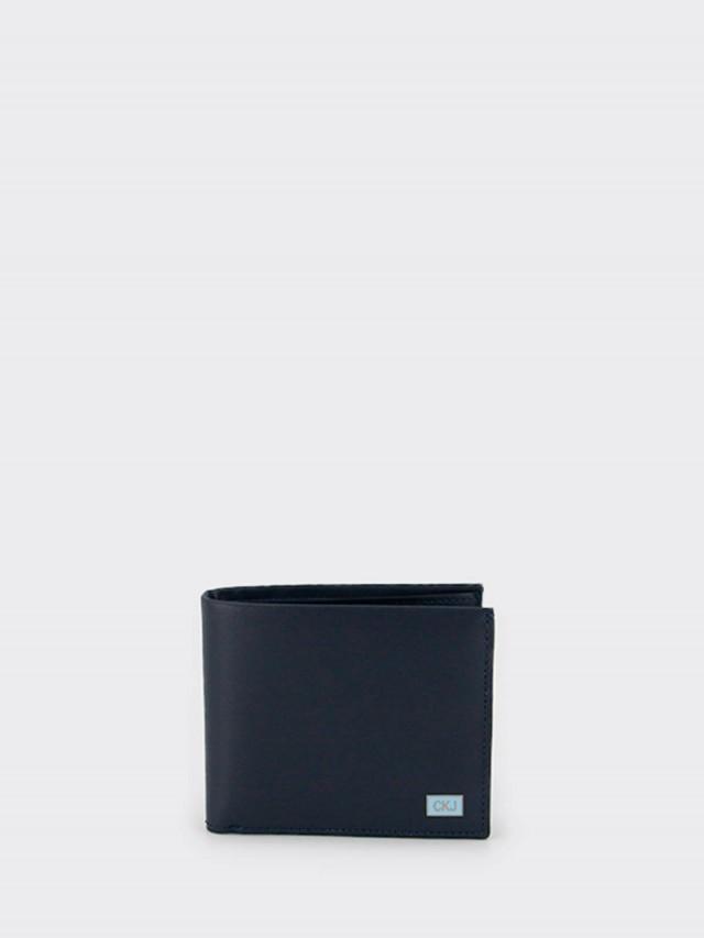 Calvin Klein CK 全皮 LOGO 飾牌雙折短夾 x 藍