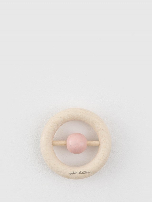 Petit Stellou 木質安撫手搖鈴固齒器 - 粉紅