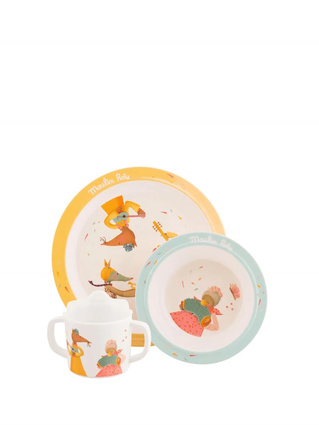 Moulin Roty Tartempois 安全杯盤禮盒組 ( 盤、碗、杯三件組 )