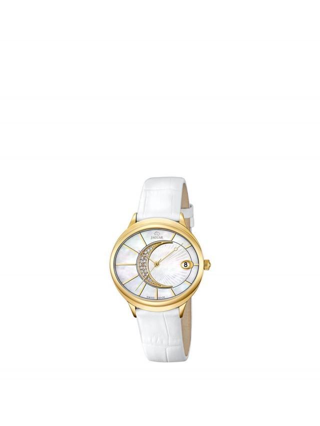 JAGUAR J803 - 右弦月金框石英女錶 x 白面金框