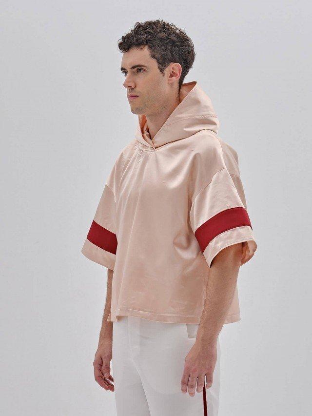 PEHOM 短袖緞面亮粉色帽衫