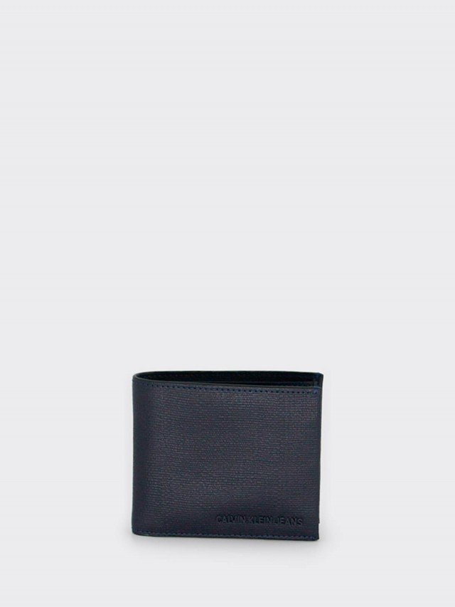 Calvin Klein CK 防刮全皮立體 LOGO 雙折短夾 x 藍