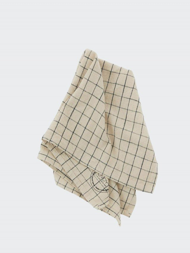 OYOY Gird 有機純棉格紋餐巾 - 經典黑白