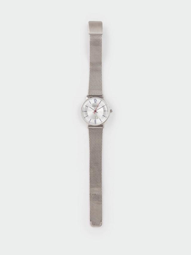 ADEXE MAC 日期顯示系列 銀錶盤 x 銀錶框 x 米蘭革錶帶 33 mm