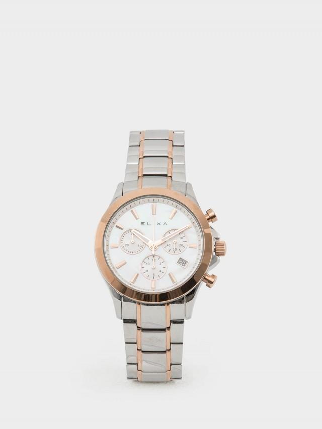 ELIXA 瑞士手錶 ENJOY 自我風格金屬系列 - 三眼錶盤 / 銀 x 玫瑰金