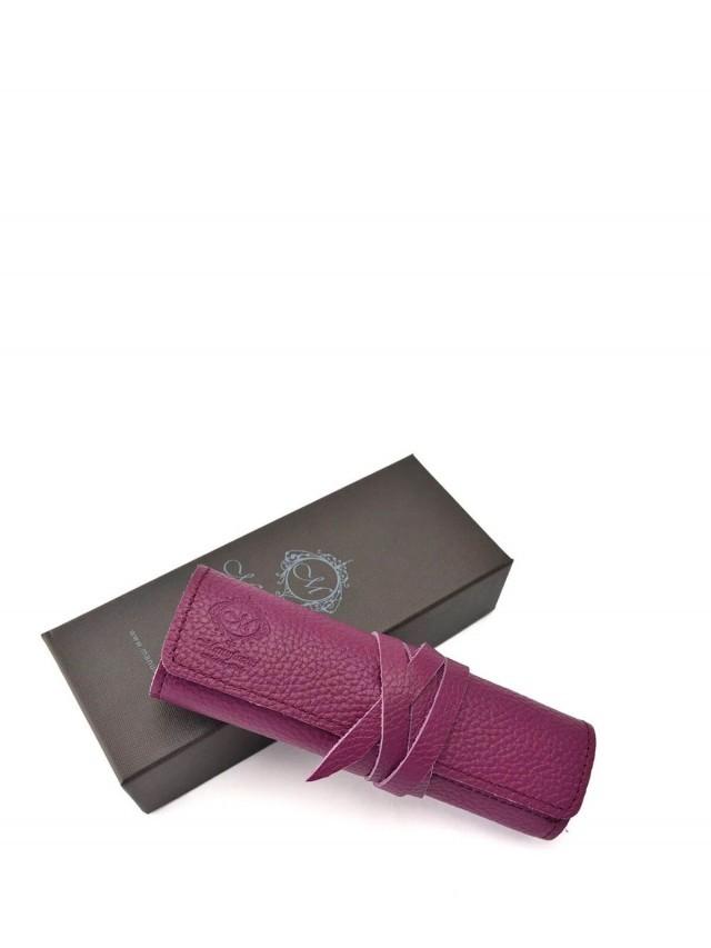Manufactus 義大利真皮筆袋 - 紫紅色