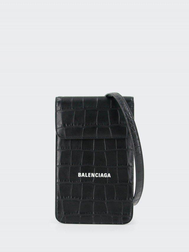 BALENCIAGA 牛皮壓紋鱷魚皮手機袋 x 黑色