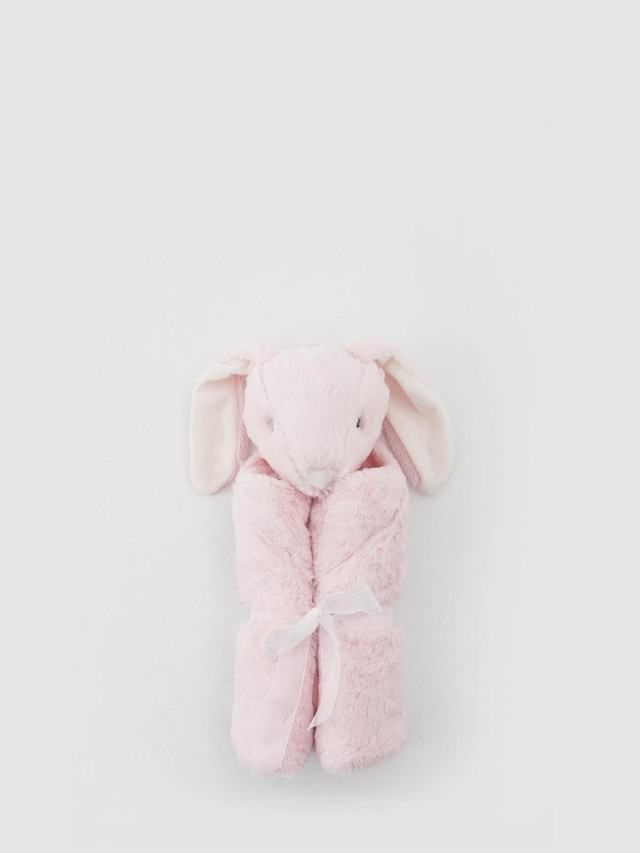 Quiltex 超柔軟動物嬰兒毯安撫毯 - 粉長耳兔