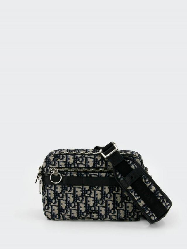 Dior 經典 OBLIQUE 緹花布小牛皮飾邊拉鍊手拿 / 斜背包