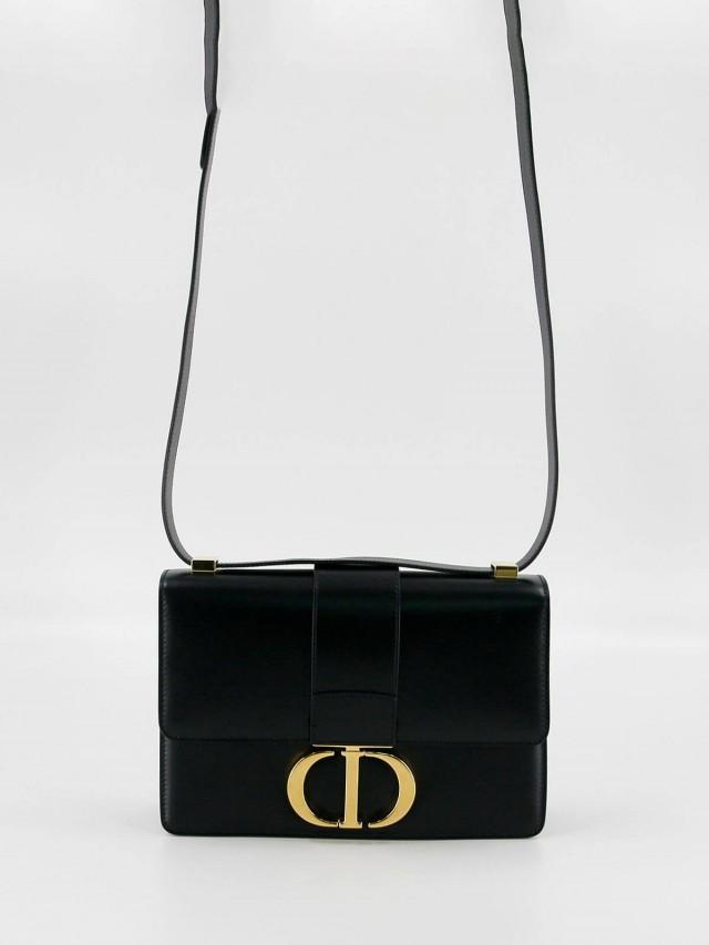 Dior 30 Montaigne 光滑頂級小牛皮 CD 字母翻蓋式手提 / 肩背包 x 黑色