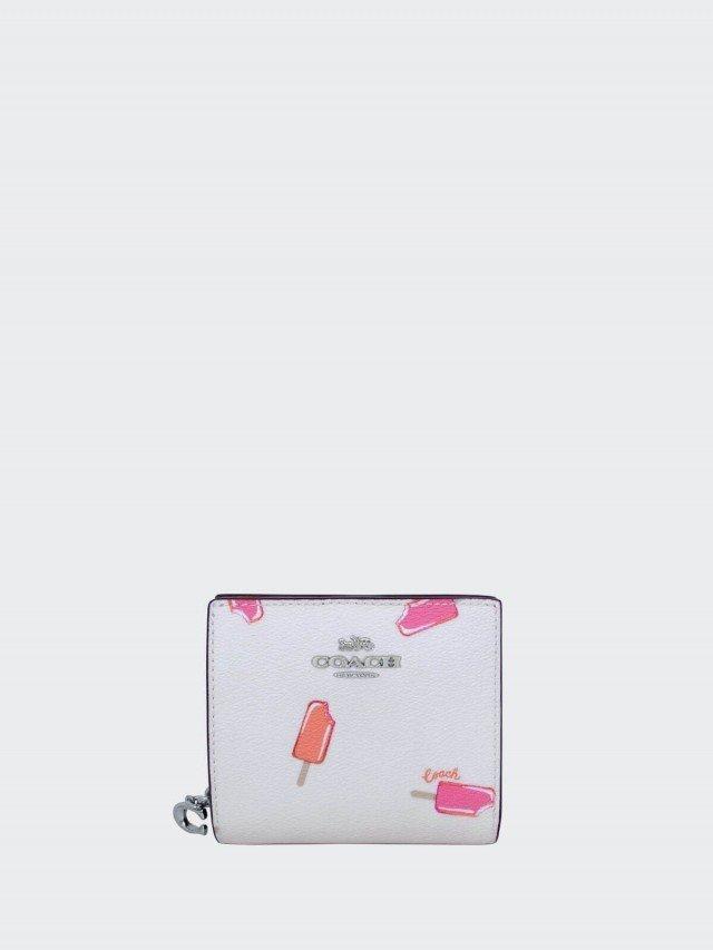 COACH 天使白桃紅雪糕圖印 C 字拉鍊袋釦式雙摺短夾