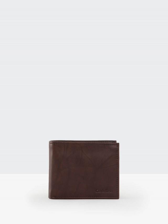 Calvin Klein 深咖水波紋真皮附活動夾雙折短夾
