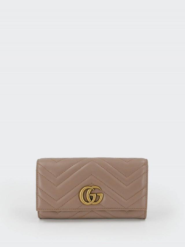 GUCCI GG Marmont 復古風牛皮縫線對折長夾 x 奶茶色