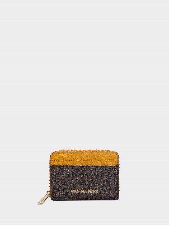 MICHAEL KORS 深咖 PVC 字印拼接黃邊皮革方型卡夾零錢包