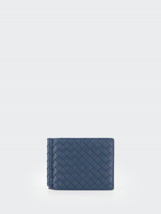 BOTTEGA VENETA 經典編織小羊皮軸釦萬用卡夾 / 短夾 x 藍色