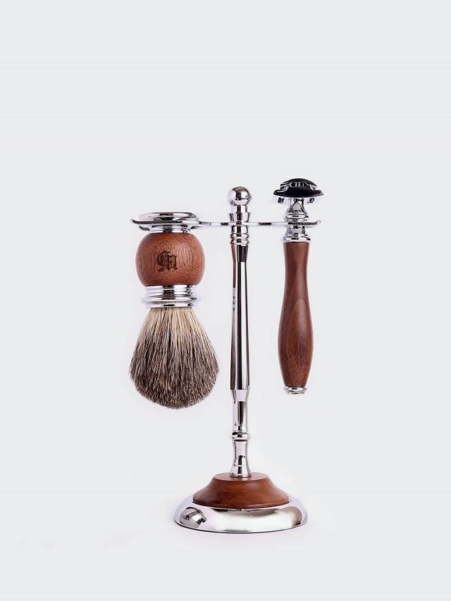 Grand Manner 尊爵系列 / 復古雙刃手動安全刮鬍刀套組 - 胡桃木