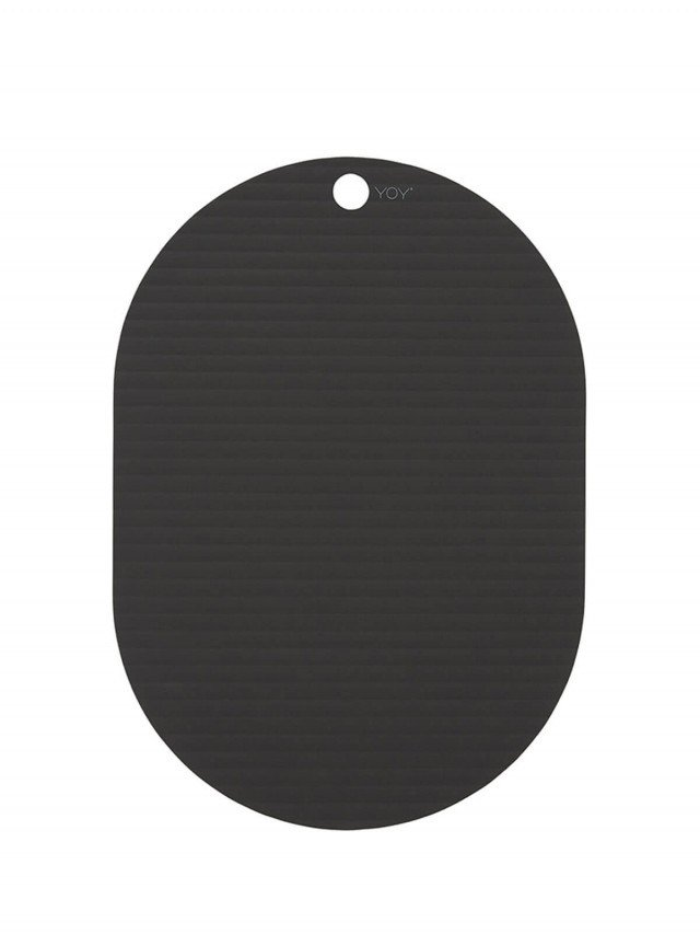 OYOY 橢圓形矽膠餐墊 - 時尚黑 ( 2入組 )