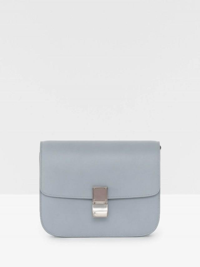 CÉLINE CLASSIC BOX 滑面牛皮金釦肩揹 / 斜揹包 - 中 x 藍灰色