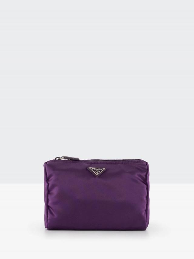 PRADA 經典三角牌尼龍中型化妝包 x 紫色