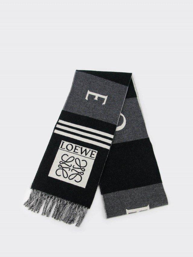 LOEWE 羊毛和羊絨足球圍巾 - 黑色 x 灰色