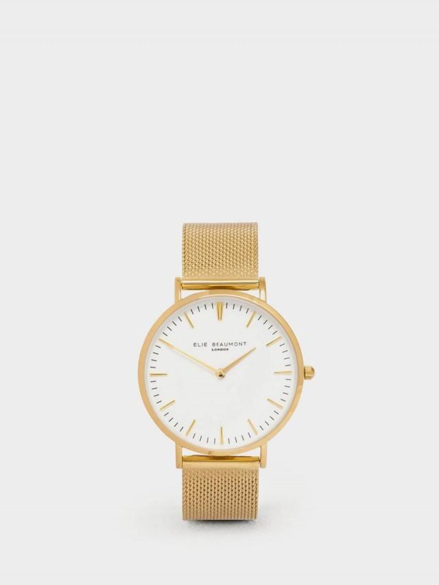 ELIE BEAUMONT 牛津米蘭錶帶系列 白錶盤 x 金色錶帶錶框38 mm
