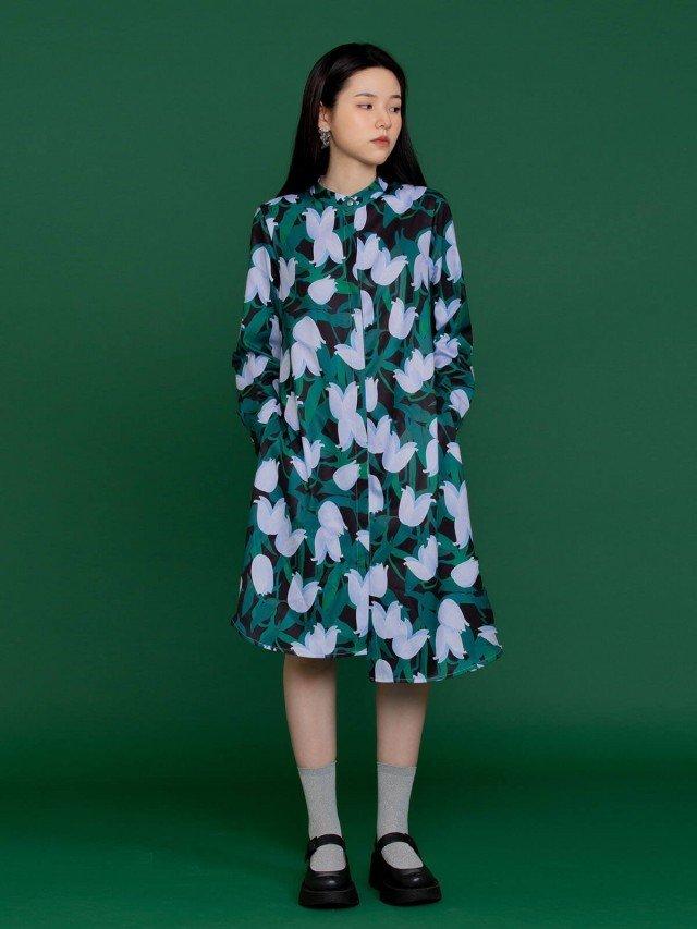 SEW INCORPORATION 優雅印花綁帶洋裝 - 黑綠色