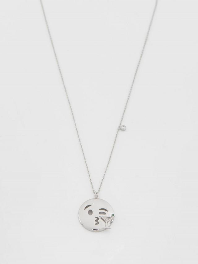 FALA 水鑽馬提尼表情符號項鏈 x 銀