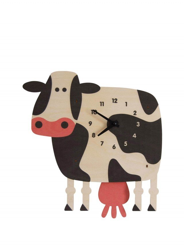 modern moose 乳牛 3D 立體擺鐘
