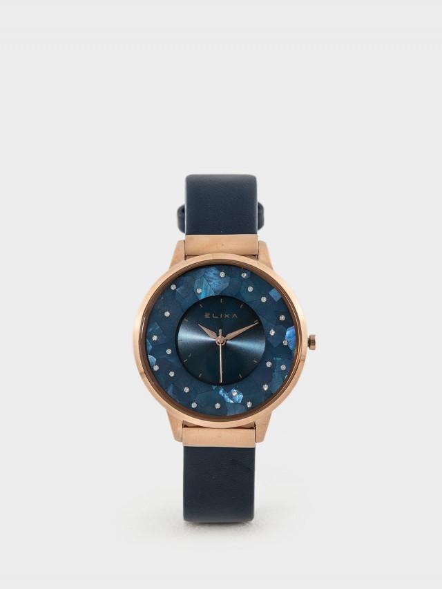 ELIXA 瑞士手錶 Finesse 晶鑽錶面簡約刻度皮革系列 - 38 mm / 星辰藍