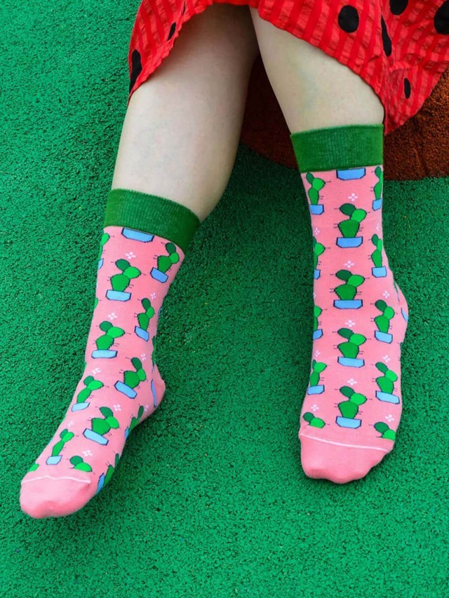 sokker 桃粉仙掌 4 分之 3 襪