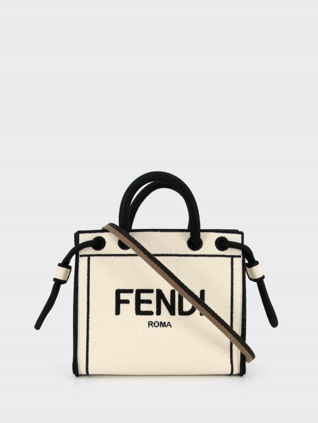 FENDI 刺繡 FENDI ROMA 帆布手提 / 斜背包 - mini x 米白