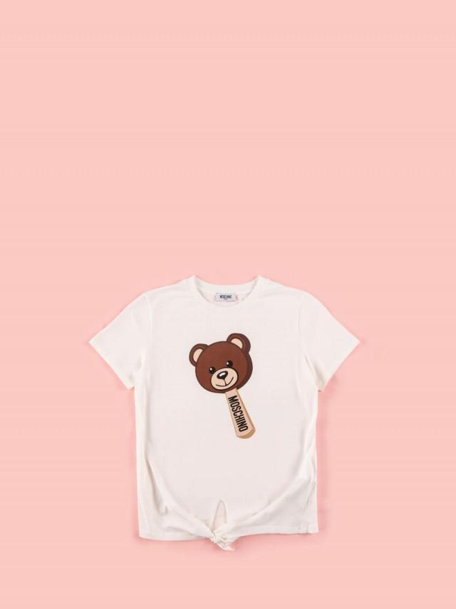 MOSCHINO 童版冰棒熊綁帶短 T x 白色