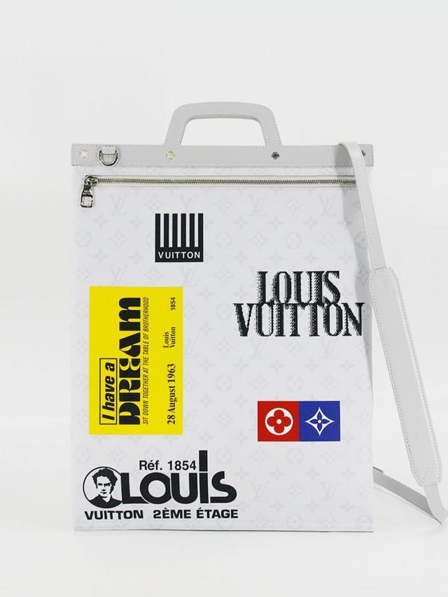 LOUIS VUITTON LV M44627 FLAT TOTE 字紋標誌印花手提 / 斜背包 x 灰白