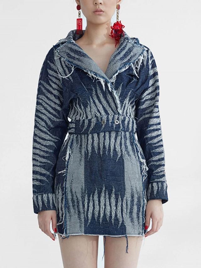 JENN LEE 深藍短版斑紋外套