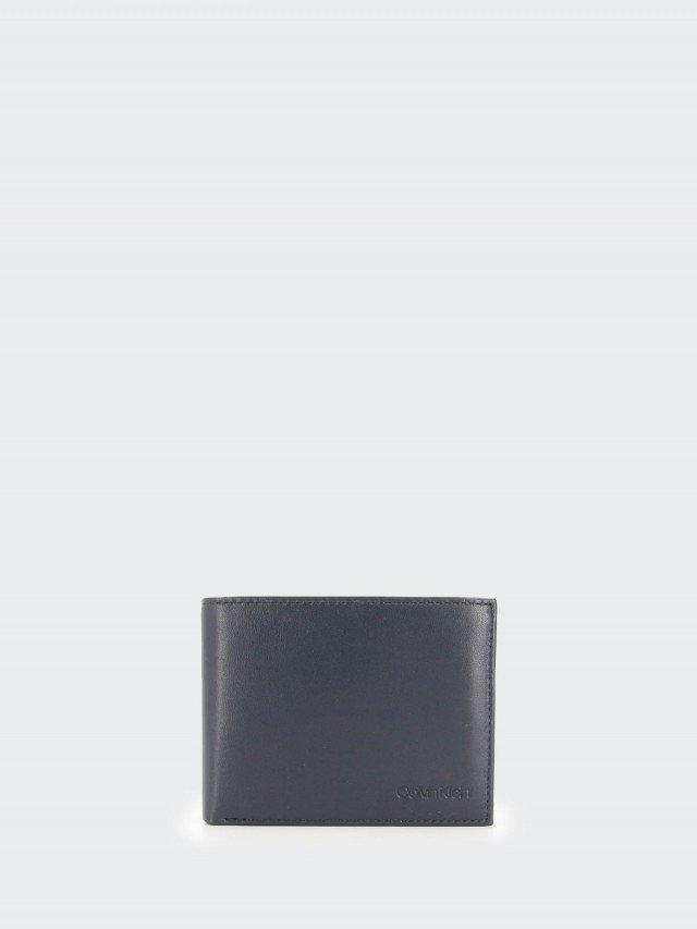 Calvin Klein 深藍色全皮雙摺零錢袋皮夾